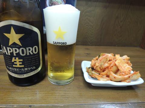 キムチ(250円)+瓶ビール(500円)