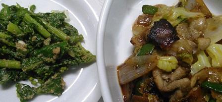 焼肉と菜の花胡麻和え