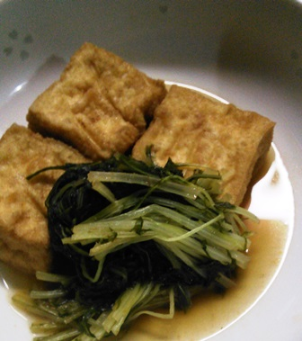 水菜と厚揚げ煮