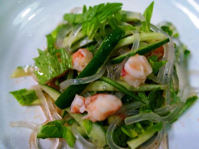 1赤海老とセロリーの葛きりサラダ2