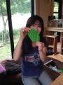 「うね編み」で作った葉っぱのアクリルタワシ