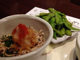 鶏皮ポン酢と枝豆