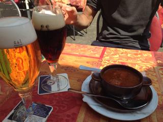 ビールとスープ