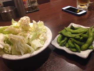 キャベツと枝豆