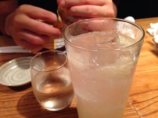日本酒と柚子サワー