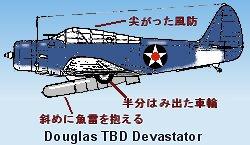 魚雷を斜めに抱えたTBDの側面図