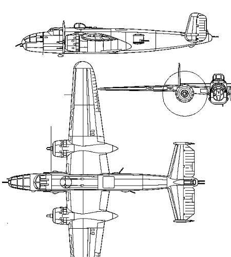 B-25 Mitchel三面図REVdownsize