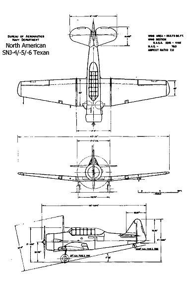 T-6 Texan 三面図downsize