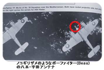 ノコギリザメのようなボーファイターTFXの八木宇田アンテナ