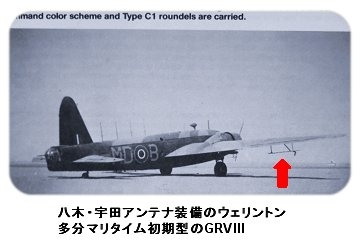 ウェリントンの初期哨戒機型の八木宇田アンテナ