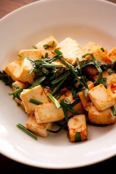 豆腐とニラの炒めもの