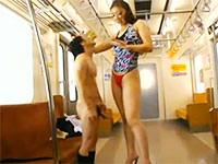 筋肉質177センチの巨大痴女!高下えりかが電車でチビ男をベロベロ!