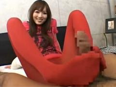 赤いタイツの麻倉憂の足コキ太ももコキ膝裏コキ尻コキマンコキで大量発射!