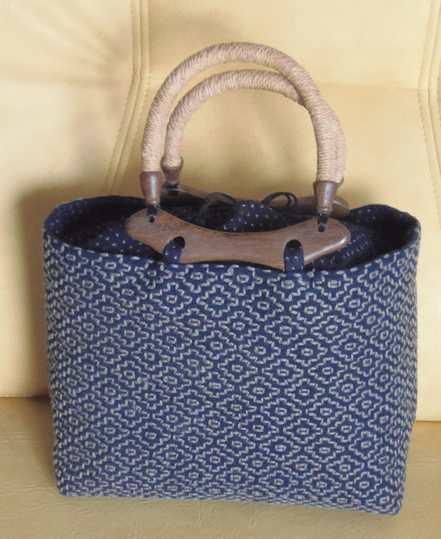 20140829 刺し子「柿の花刺し」のバッグ