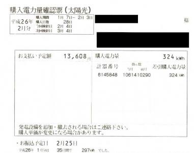 2014年1月売電量
