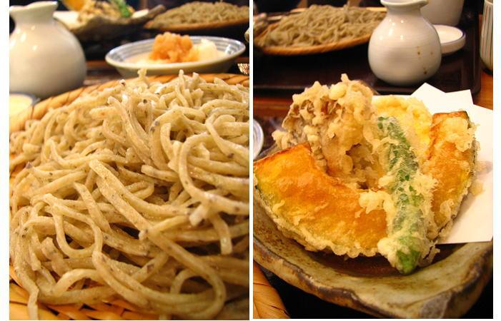 粗挽きの蕎麦と野菜の天婦羅