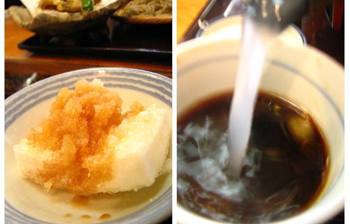 揚げ餅と蕎麦湯