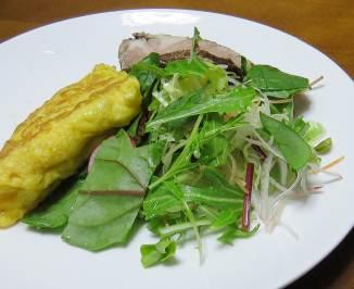 赤ホウレンソウの野菜サラダ