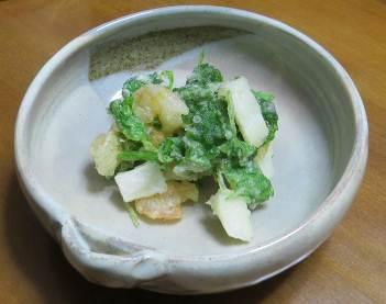 ミツハとヤマイモ天ぷら