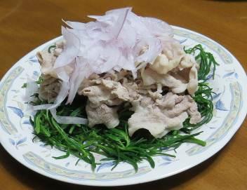 オカヒジキと豚肉