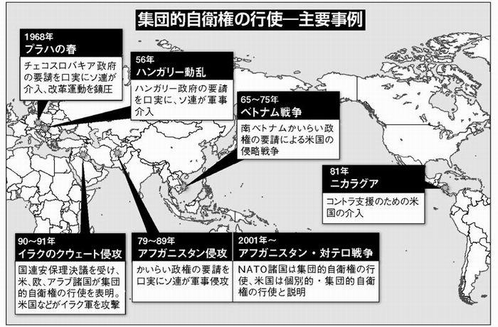 地図 集団的自衛権の行使例