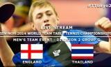 イギリスVSタイ 世界卓球2014(Gグループ)