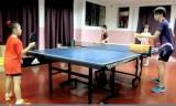マレーシアの卓球場の多球練習風景