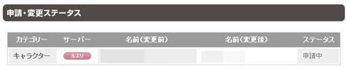 キャラクター 名前変更申請 1週目 5