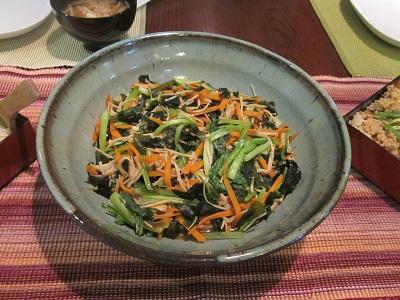 わかめと青菜の炒め物