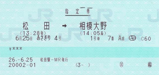 松田→相模大野(指定券)