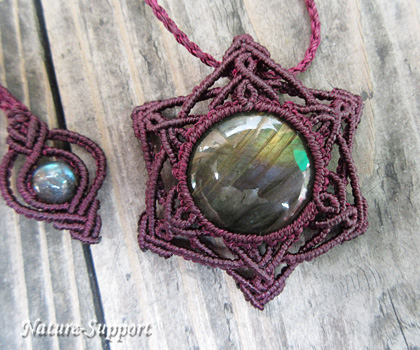 六芒星マクラメ編み