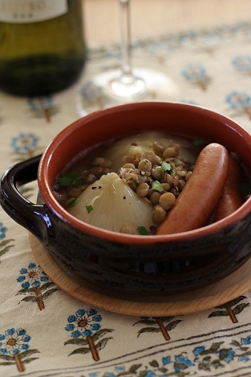 新玉ねぎレンズ豆煮込み1