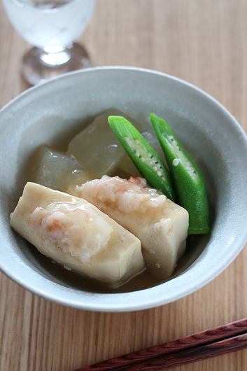 冷たい冬瓜と高野豆腐の挟み煮
