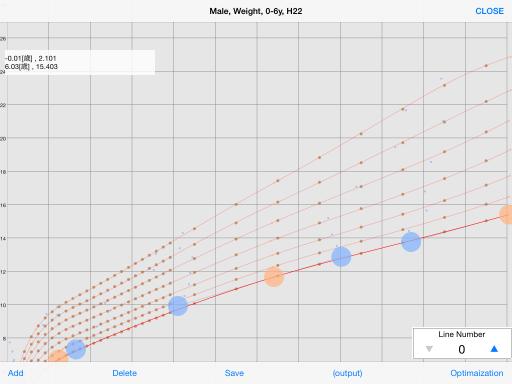 ベジェ曲線作成アプリのスクショ