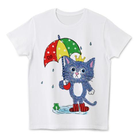 猫Tシャツ おうさまとかさ